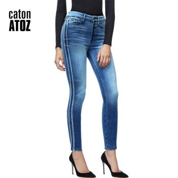 2173 New Women Side Stripes High Waist Jeans Denim Striped Jeans for Female Jeans Pants Blue Patchwork Pants Skinny Jeans