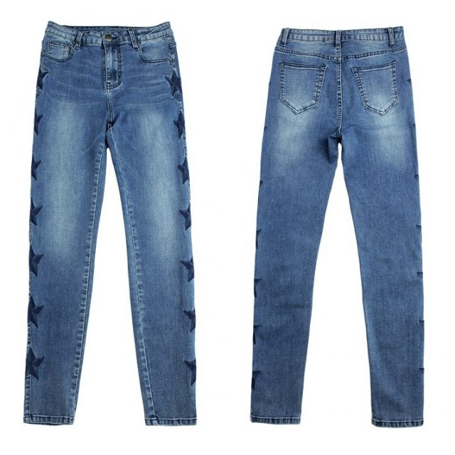 catonATOZ 2142 Mom Jeans New Woman's Vintage Star Embroidery Jeans Stretch Denim Pants Female Skinny Trousers For Women