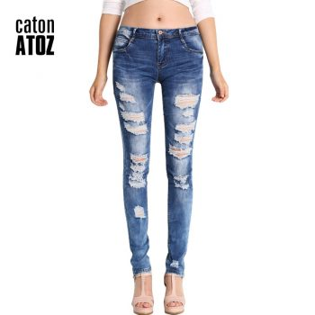 catonATOZ 2045 Low Waist Distressed Jeans New  Ladies Cotton Denim Pants Stretch Womens Ripped Skinny Denim Jeans For Female