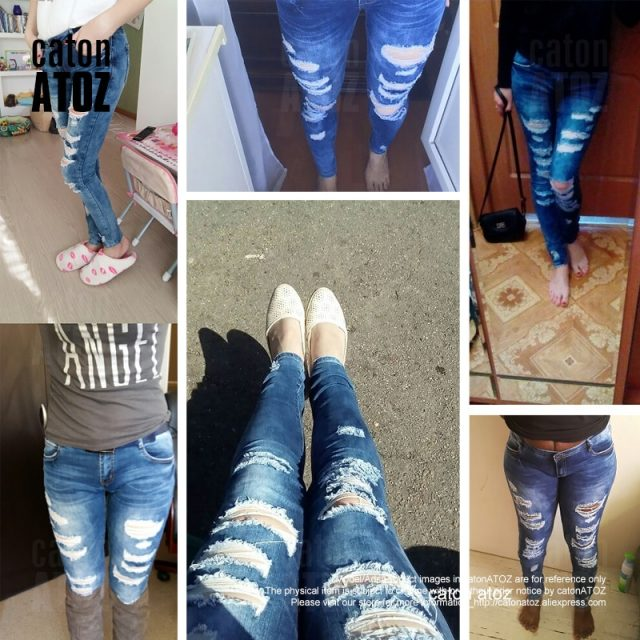 catonATOZ 2045 Low Waist Distressed Jeans New  Ladies Cotton Denim Pants Stretch Womens Ripped Skinny Denim Jeans For Female