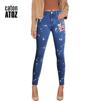 catonATOZ 2108 Women's Vintage Flower Embroidery Jeans Pencil Stretch Denim Pants Female Skinny Trousers Woman High waist Jeans
