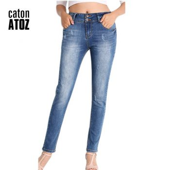catonATOZ 2052 Office Lady Classic Stretch Skinny Jeans Woman Blue Denim Pencil Pants Jeans For Women