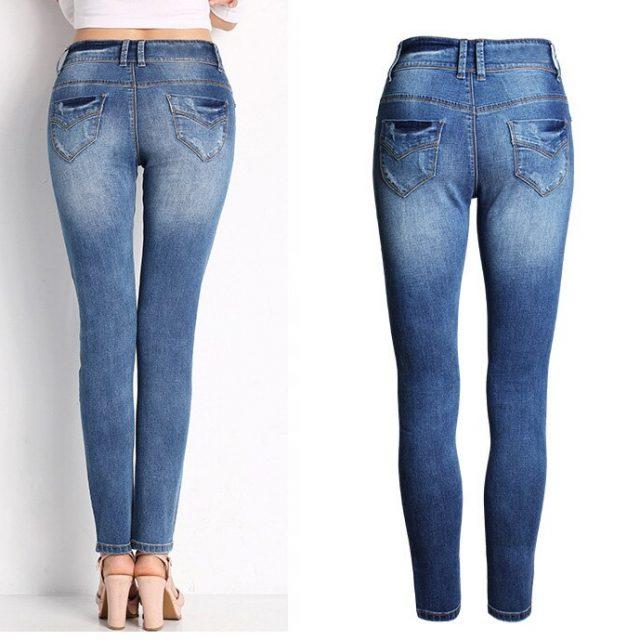 catonATOZ 2052 Office Lady Classic Stretch Skinny Jeans Woman Blue Denim Pencil Pants Jeans For Women