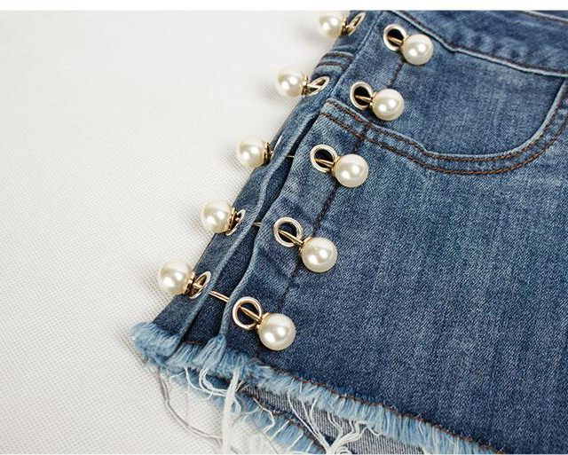 catonATOZ 2214 Women High Waist Shorts Ladies Cotton Pearl Studded Shorts Denim Pants Ripped Shorts For Woman