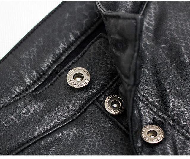catonATOZ 2217 Women Fashion Black Punk Motor Biker Pants Women`s Stretch Slim Fit Plus Velvet Thick Snake PU leather pants