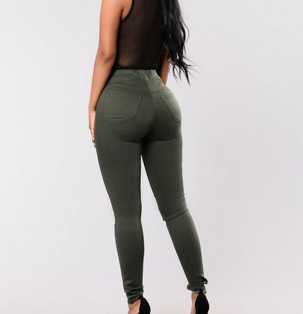 catonATOZ 2149 Women's Big Size High Waist Jeans Army Green Motorcycle Pencil Skinny Denim Pants Trousers Jeans For Women