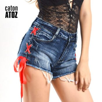 catonATOZ 2215 Women High Waist Shorts Ladies Sexy Cotton Side Stripe Lace UP  Shorts Denim Pants Ripped Shorts For Woman