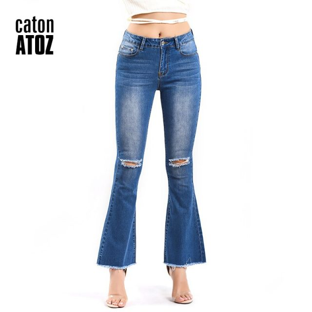 catonATOZ 2191 Women`s Fashion Mid High Waist Jeans Plus Size Sexy Ripped Stretchy Flare Jeans For woman