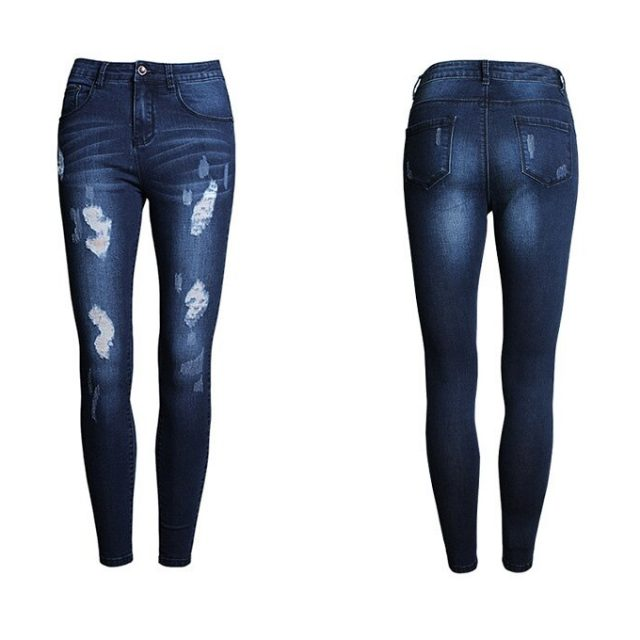 catonATOZ 2053 Ladies Stretchy Cotton Denim Pants Trousers Womens Ripped Skinny Jeans For Women