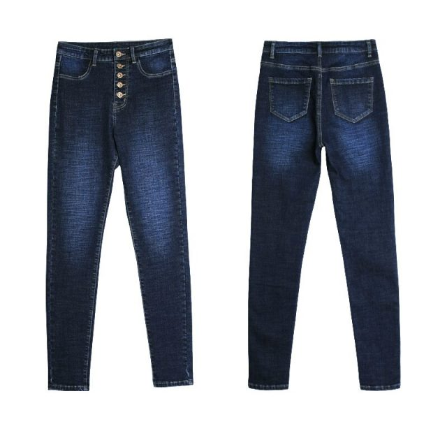 catonATOZ 2141 New Mom Jeans Woman`s Button Fly High Waist Stretchy Denim Jeans For Women Navy Blue Slim Skinny Pants Jeans