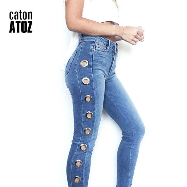 catonATOZ 2165 New 2018 Hot Mid High Waist Eyelets Jeans Women`s Stretchy Pencil Skinny Denim Jeans For Woman
