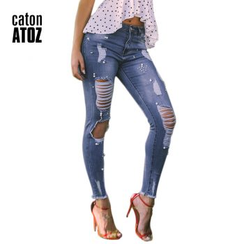 catonATOZ 2181 New Arrived Ladies Cotton Pearl Studded Jeans Denim Pants Womens Skinny Stretch Ripped Beading Jeans For Women