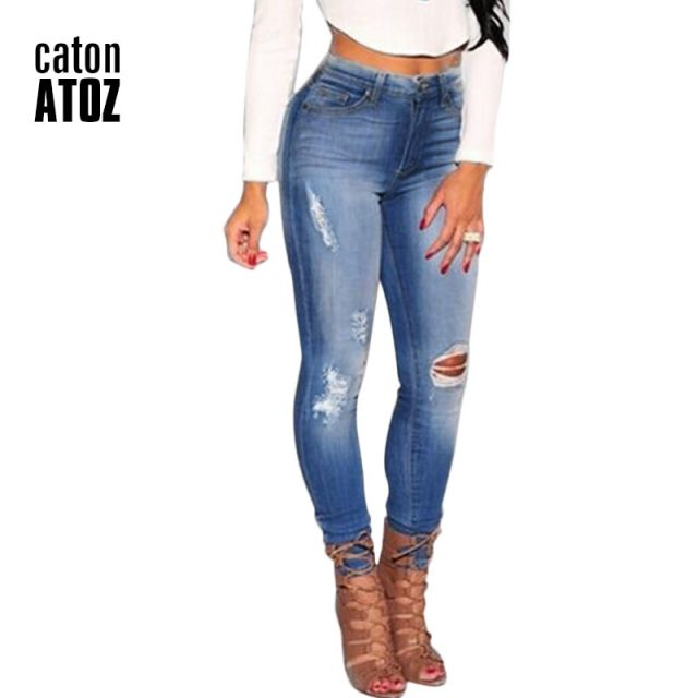 catonATOZ 2016 Hot Fashion Ladies Plus Size Cotton Stretch Denim Pants Womens Ripped Knees Skinny Jeans For Women