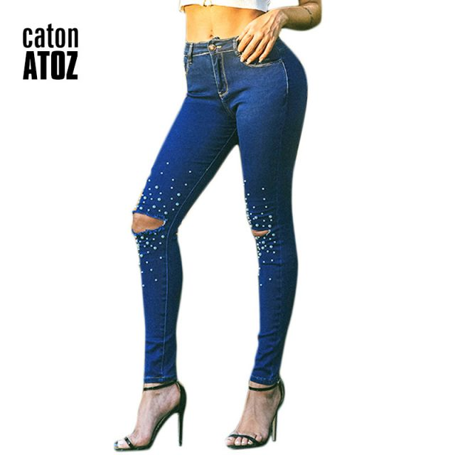 catonATOZ 2180 New Arrived Ladies High Waist Jeans Pearl Studded Jeans Denim Pants Womens Skinny Stretch Ripped Jeans For Women