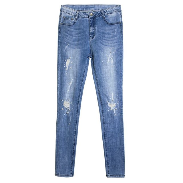 catonATOZ 2184 New Ladies Cotton Pearl Studded Plus Size Mom Jeans Denim Pants Womens Skinny Stretch Ripped Jeans For Women