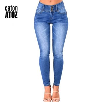 catonATOZ 2143 Mom Jeans New Women Pencil Stretch Skinny Jeans Mid High Waist Jeans Pants Women's Blue Slim denim Jeans