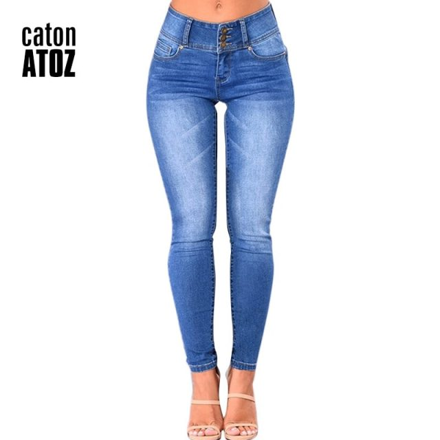 catonATOZ 2143 Mom Jeans New Women Pencil Stretch Skinny Jeans Mid High Waist Jeans Pants Women's Blue Slim denim Jeans