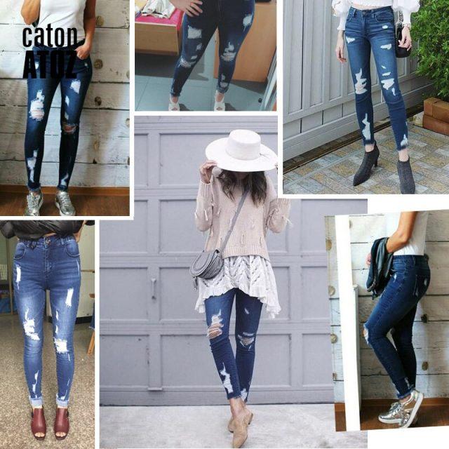 catonATOZ 2127 Woman Fashion Ripped Jeans Hot Ladies Cotton Stretchy Denim Pants Trousers Jeans For Women