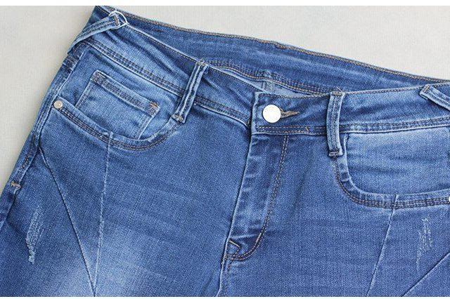 catonATOZ 2086 Woman Fashion Motor Biker Jeans Mid Low Waist Stretchy Patchwork Denim Pants Trousers Jeans For Women