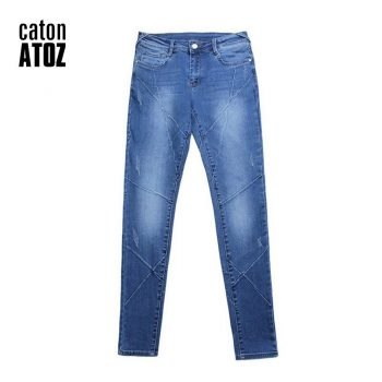 catonATOZ 2086 Woman Fashion Motor Biker Jeans Mid Low Waist Stretchy Patchwork Denim Pants Trousers Jeans For Women