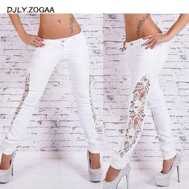 Street Fashion Slim Jeans Lace Pants Woman Long Lace Jeans White/Black/Dark Blue/Light Blue