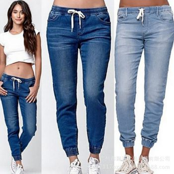 Women's Clothing Jeans Lace-up Washed Closing Foot Lantern Cowboy Pants Women's