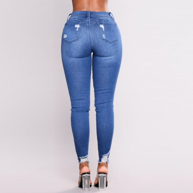 SAGACE Chic fashion ladies high waist stretch hole straight leg denim pants ladies temperament casual jeans hot solid color