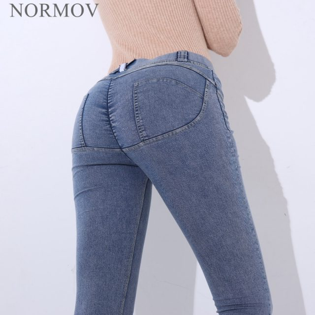NORMOV Fashion Women Sexy Jeans Low Waist Elastic Hip Push Up Jeans Colombian Casual Pockets Zipper Pencil Pants Jeans 4 Color