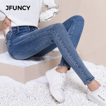 JFUNCY Women High Waist Skinny Jeans Mujer 2019 Slim Stretch Jeans Plus Size Winter Spring Warm Velvet Pencil Denim Pants Lady