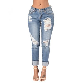 NORMOV Jeans Women 2019 High Waist Casual Skinny Denim Pencil Pants Pocket Ripped Zipper Cotton Trousers Puls Size Jeans Femme