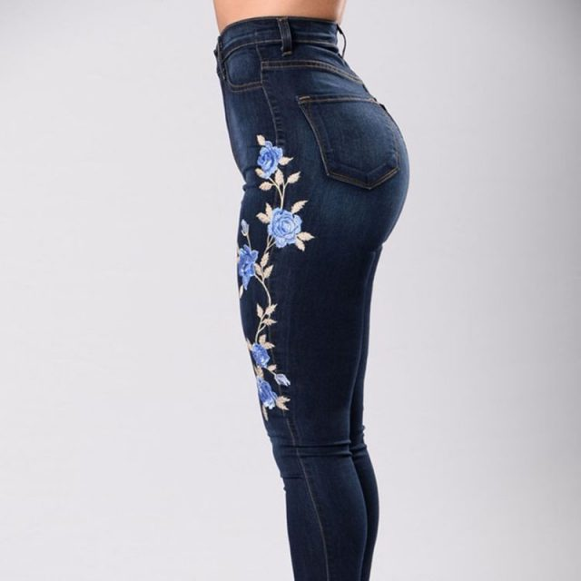 NORMOV Spring Summer Women Jeans High Waist Skinny Push Up Large Size Jeans Stretch Plus Size Female Embroidered Pencil Jeans