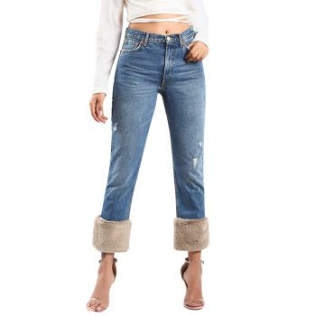 NOEMOV 2019 Fashion Women Winter High Waist Jeans Solid Color Ankle-Length Pants Spliced Pockets Button Zipper Straight Jeans