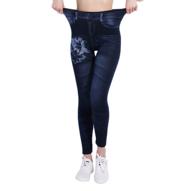 NORMOV Woman Fashion Print Jeans Denim High Elastic Polyester Jeans Casual Mid Waist Straight Slim Pants Women Leggings