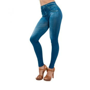 Women's Jeans Stretch Jeans Do Not Fade Without Deformation Slim Tight Blue Jeans Autumn and Winter Pants Washed Pencil Pants