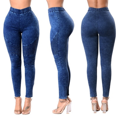 Autumn Winter Fitness Skinny Denim Jeans Women Casual Pencil Pants Pleated Stretch Elastic Waist Jean Bodycon Trousers S-XXL