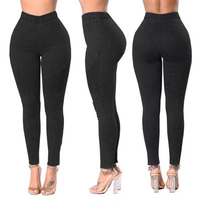 Autumn Winter Fitness Skinny Denim Jeans Women Casual Pencil Pants Pleated Stretch Elastic Waist Jean Bodycon Trousers S-XXL