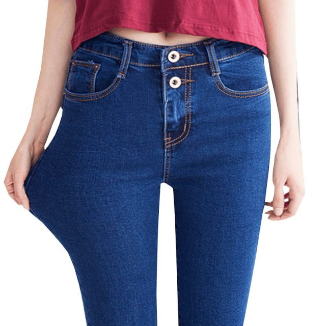 2019 New Fashion High Waist Skinny jeans Women Pencil Pants Cotton Slim Elastic Womens Long Casual Jeans for women jeans Q201