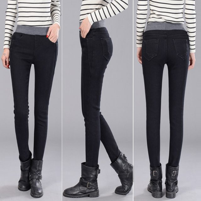 2020 Winter Jeans For Women Stretch Skinny Warm Denim Pants Thicken Thin High Waist Pencil Pants Female Fall Jean Trousers
