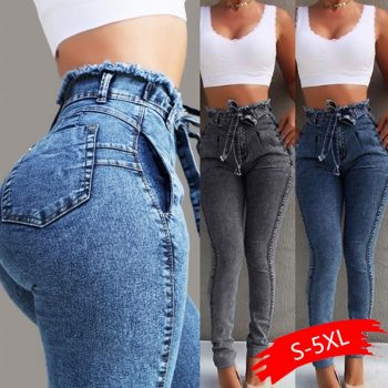 High Waist Jeans For Women Slim Stretch Denim Jean Bodycon Tassel Belt Bandage Skinny  Woman Casual Plus Size Pencil Jeans