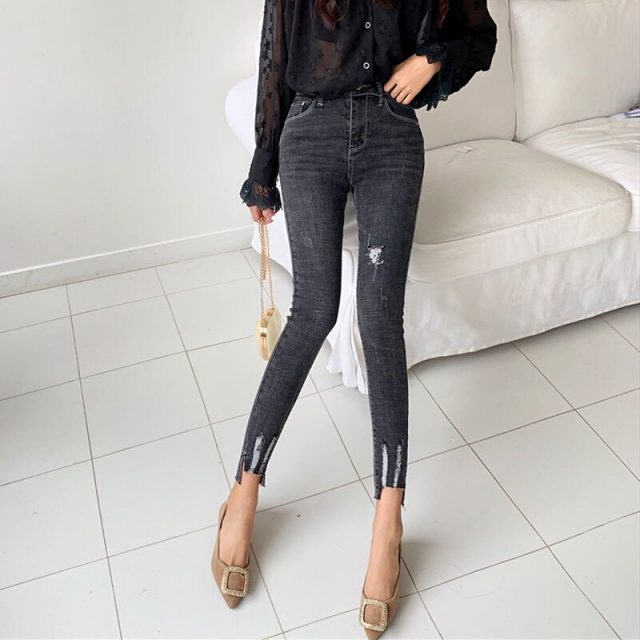 Women Jeans Spring New 2019 High Waist Jeans Wild Hole Nine Points Pants Slim Skinny Jeans Woman Autumn Zipper Jean Cloth Women