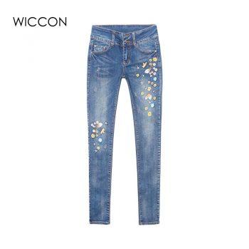 Autumn Flower Embroidery Jeans Women Pantalon Femme Woman Jeans Skinny Trousers winter Denim Pants Stretch Pencil Jeans WICCON