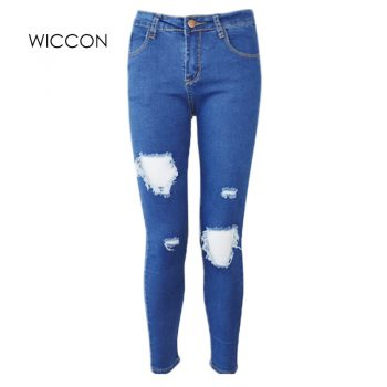 Fashion Casual Women Brand Vintage High Waist Skinny Denim Jeans Slim Ripped Pencil Jeans Hole Pants Female Sexy Girls Trousers