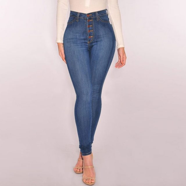 Women High Waisted Skinny Denim Jeans Stretch Slim Pants Calf Length Jeans Sexy Regular Pants Brief Sexy Attractive Hips Pants
