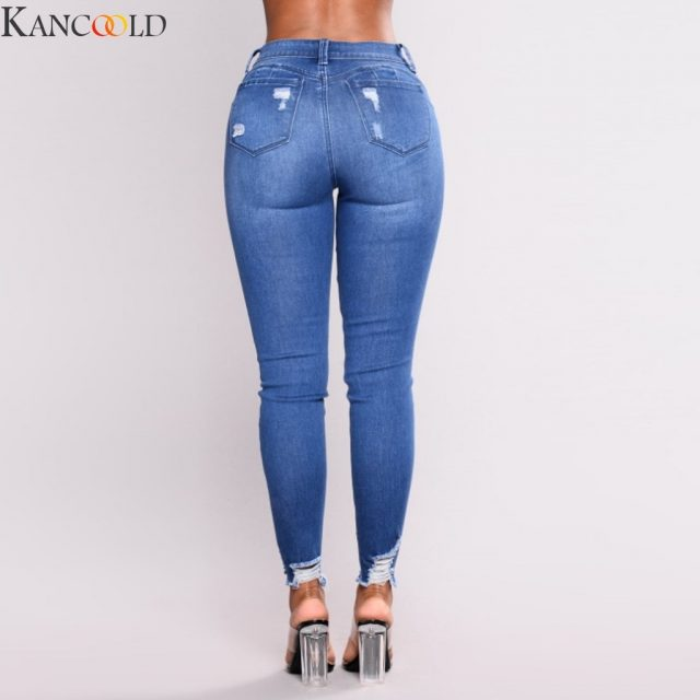 KANCOOLD New Blue Jeans Pancil Pants Women High Waist Slim Hole Ripped Denim Jeans Casual Stretch Trousers Jeans for Women