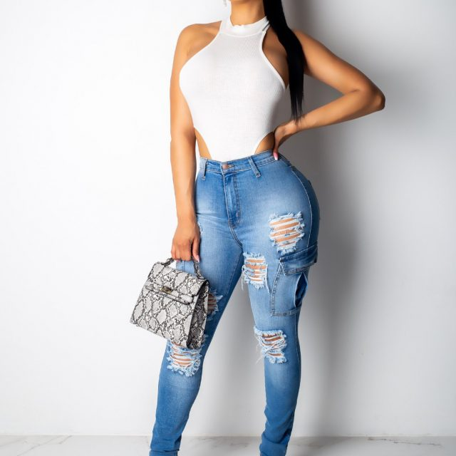 Fashion Street Style High Waist Skinny Jeans Women Push Up Sexy Plus Size Ripped Jeans Pencil Pants with Pocket Jeans Woman Blue