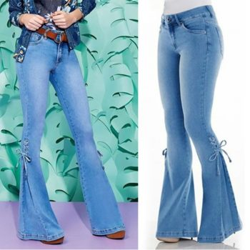 Jeans Woman Mid-Waist Wide leg pants Denim Stretch Micro Bell Plus Size Bottom Jeans female washed denim skinny pencil pants