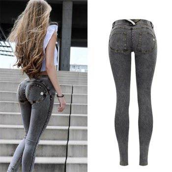 Sexy Low Waist Jeans Woman Peach Push Up Hip Skinny Denim Pant  Boyfriend Jean For Women Elastic Leggings grey Jeans Plus Size