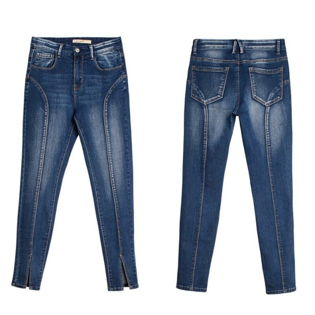 Jeans women spring and autumn new mid-waist high elastic split pedicure women's jeans nine points women's jeans trousers