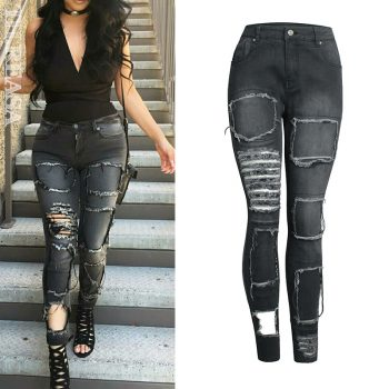 Plus Size Slim Hole Ripped Jeans Black Destroyed Jeans Women Tattered Jeans Design Icon Broken Stretch Skinny Denim Pencil pants