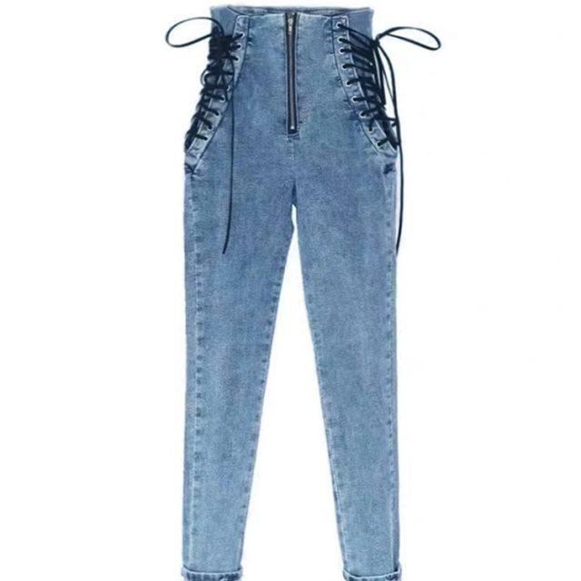 High waist skinny jeans medium street fashion slim leggings women sexy elastic side cross tie blue black pencil pants
